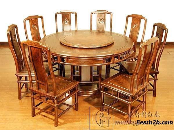 红木圆餐桌,实木餐桌椅