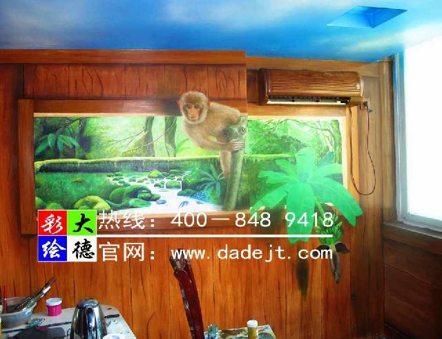 墙体彩绘—家装3d森林装饰彩绘