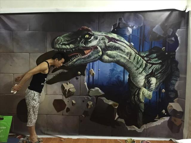 游乐场恐怖屋3d立体画恐怖设计 恐龙自然历史博物展馆