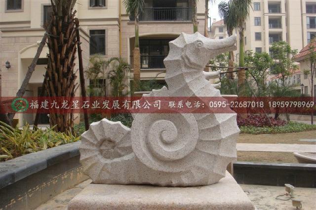 动物喷水石雕 黄锈石喷水雕塑 石材喷水雕塑