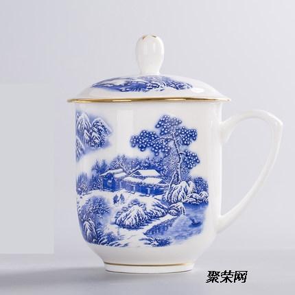 景德镇青花玲珑陶瓷茶杯 龙纹陶瓷茶杯 办公杯图片