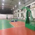 塑胶硅PU蓝球场面层铺设4MM硅PU球场地面塑胶球场地面厂家