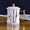 陶瓷杯定制青花瓷盖杯促销礼品杯骨瓷咖啡杯碟定做情侣马