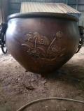 現貨定鐵水缸 鑄銅缸擺件仿古