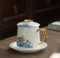 骨瓷办公杯三件套定做陶瓷笔筒烟灰缸陶瓷茶杯定做青花瓷