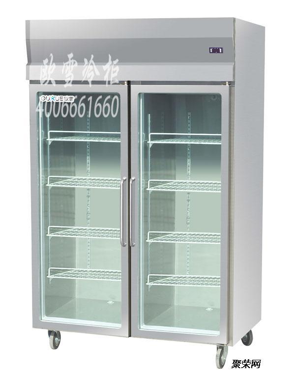 供应山西玻璃门厨房柜食堂冷藏展示柜多少钱一台