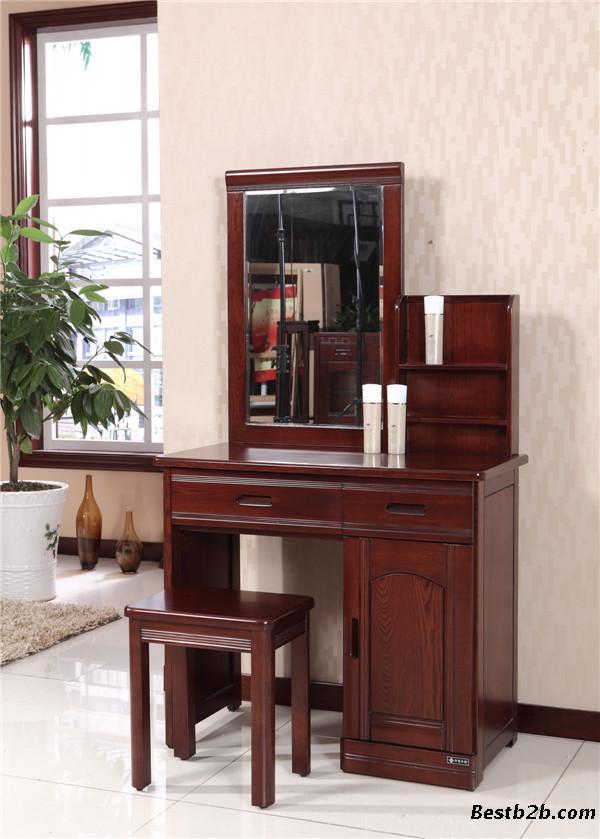 热销实木梳妆台 实木衣柜 实木床 全屋实木家具 木言木语