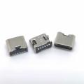 TYPE-C6P板上貼片母座 四腳插板 單充電大電流