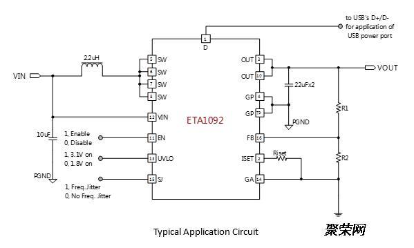 钰泰eta1092升压ic,5v 3a,大电流内置限流可调