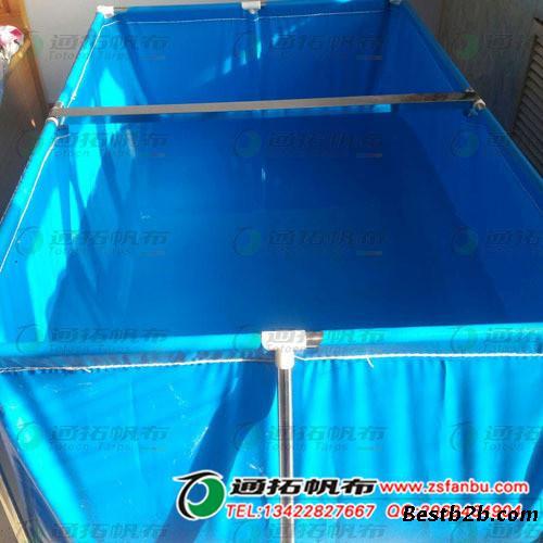 蓝色环保帆布储水池_儿童游乐场帆布游泳池_帆布蓄池定做