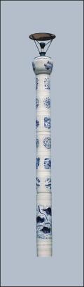 定制景德镇陶瓷瓷灯柱 厂家直供大型景观陶瓷灯柱