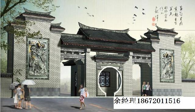中式古建筑牌坊,景区仿古门楼,古建牌楼大门图片