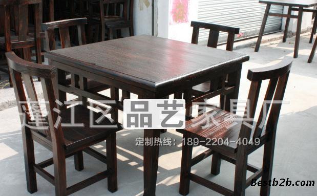 餐馆桌椅,实木家具餐桌,实木仿古八仙桌,品艺家具