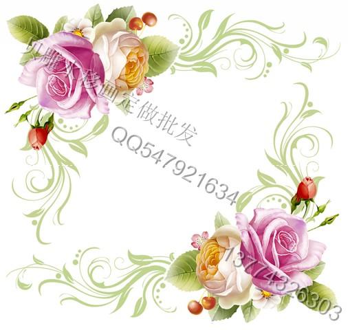 烤漆相框水转印贴花大韩水晶相框水移画玫瑰花角花