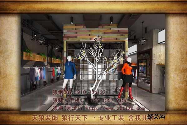 服装店装修设计商品货架的分段陈列