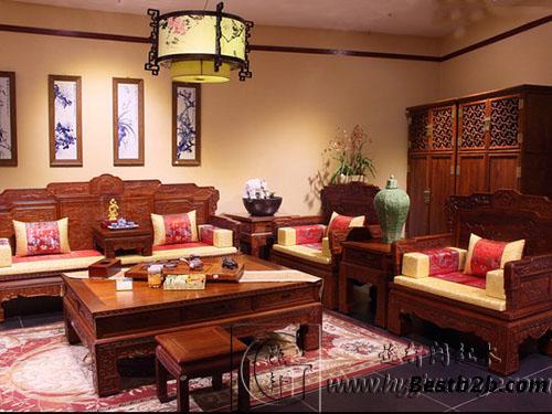红木仿古沙发,中式客厅沙发定制