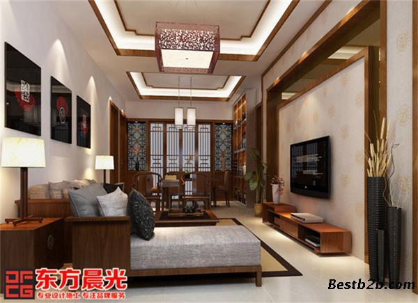 中式吊顶和宫灯,仿古设计实木家具,木格门窗,内敛优雅的电视背景墙,仿