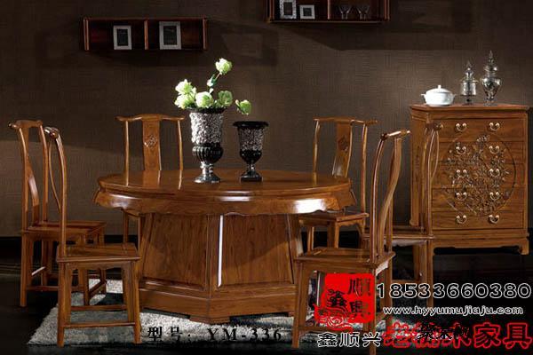 老榆木雕花圆餐桌实木餐桌定制ym-336