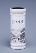 景德鎮陶瓷雙層陶瓷內膽帶蓋保溫水杯便攜喝茶杯
