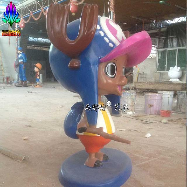 尚雕坊现货供应2015款q版海贼王卡通人物玻璃钢雕塑