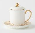 镀金手柄陶瓷杯定做创意双层保温杯青花瓷盖杯中式茶杯办