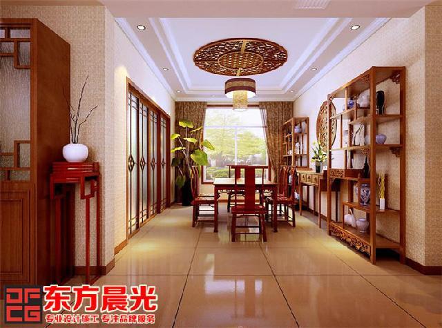 中式沙发木格背景墙图片