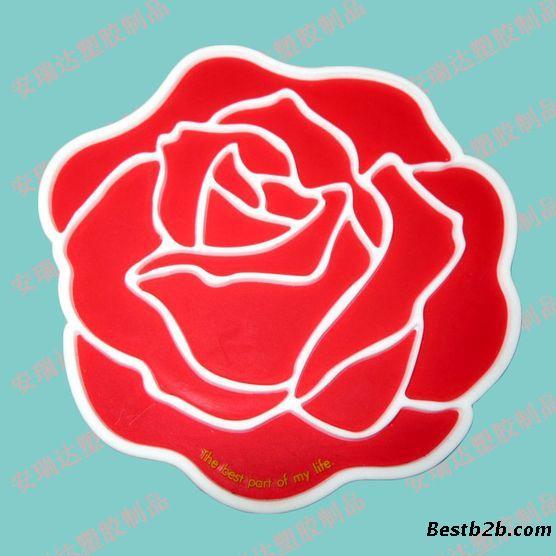 厂家供应玫瑰花型软胶杯垫,定制杯垫