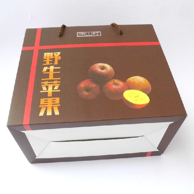 现货野生苹果包装盒水果礼品盒瓦楞纸箱免费设计logo