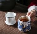 陶瓷茶杯办公盖杯定做渡景山房羊脂玉陶瓷杯定做高档礼品