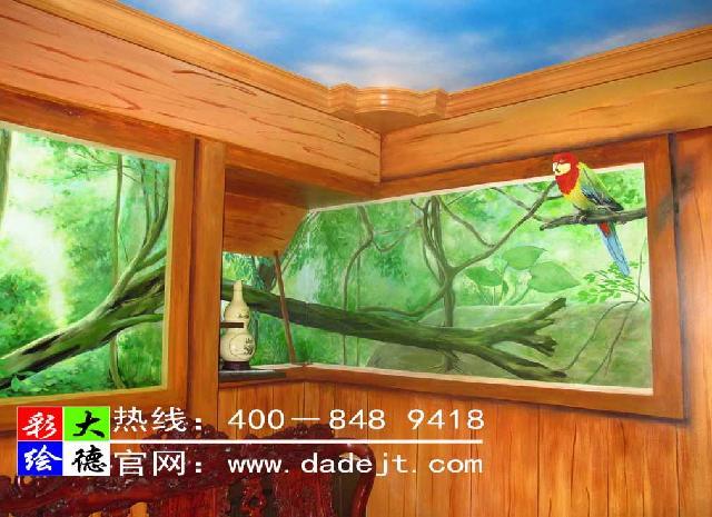 墙体彩绘 家装3D森林装饰彩绘