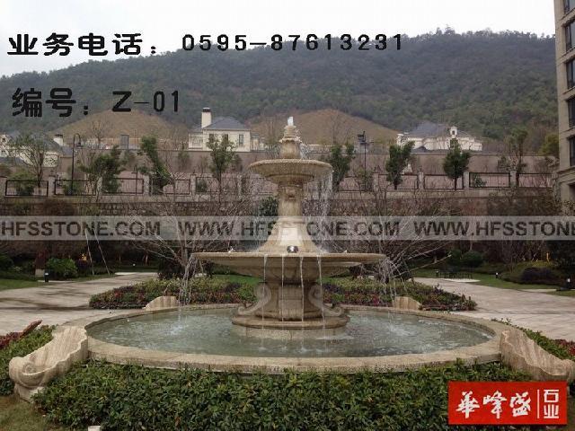 花园水池石雕,双层水景喷泉石雕,小区水景雕塑图片