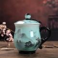 纯白帮手茶杯礼品商务袋盖水杯定制批发 陶瓷会议杯子