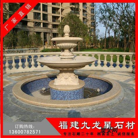 石雕花岗岩喷泉 大理石中式水钵雕塑 石材水钵喷水池图片