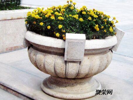 特价石雕花盆黄锈石黄金麻大理石庭院欧式花岩岗摆件石头雕塑
