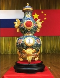 吉祥中國福祿尊以文物畫琺瑯大吉葫蘆瓶為原型手工打造