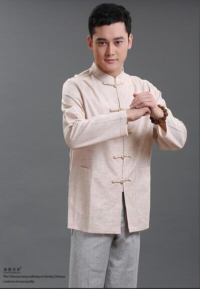 扣衬衫男士唐装长袖长衫图片