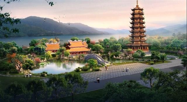 仿古建筑效果图设计,寺庙装修效果图设计