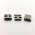 TYPE-C8p貼片母座 90度四腳插板黑膠芯