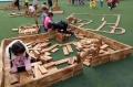 幼兒園碳化積木 木質攀爬架 幼兒園戶外游樂設施