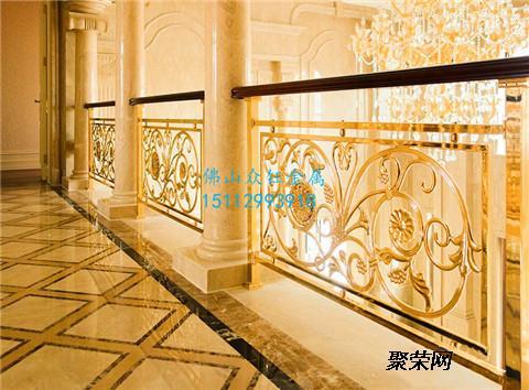 欧式高档铝雕刻护栏 铝艺雕刻护栏气派别墅专用土豪金铝板雕刻花格