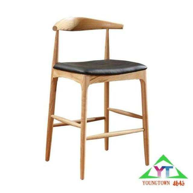 供应星巴克实木吧椅咖啡厅牛角吧椅高脚吧凳