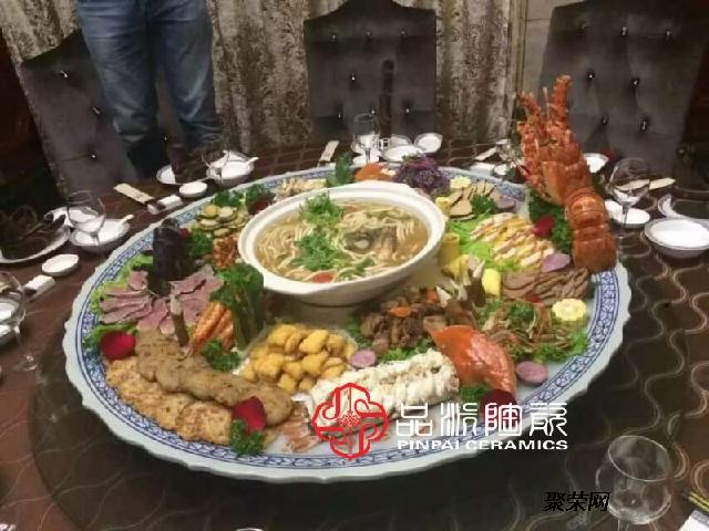 80公分一米火锅海鲜大咖盘分格大瓷盘