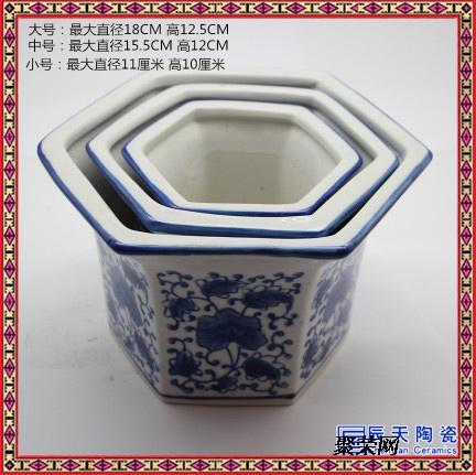 陶瓷花盆大号底带托盘简约多肉陶瓷花盆三件套绿萝圆形桌面花盆