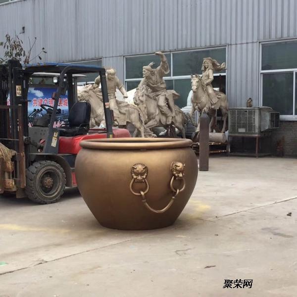 鑄銅雙獅子頭大銅缸景觀擺件 鑄銅荷花養魚水缸