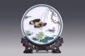 顧澄清大師作品鴛鴦戲水盤醴陵釉下五彩手繪掛盤