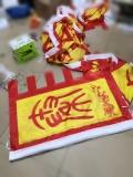 火焰梭边西安仿古旗红黄贡缎旗设计