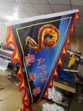 西安仿古旗街头招牌贡缎旗帜 小吃烧烤广告彩旗