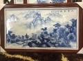 青花山水壁画 时尚装饰瓷板画定做