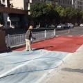 安徽铜陵彩色路面喷涂剂喷绘彩虹路面