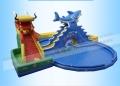 成人儿童充气龙鲨滑梯游泳池